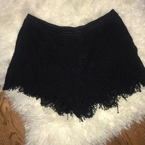 Pants - Black crocheted shorts